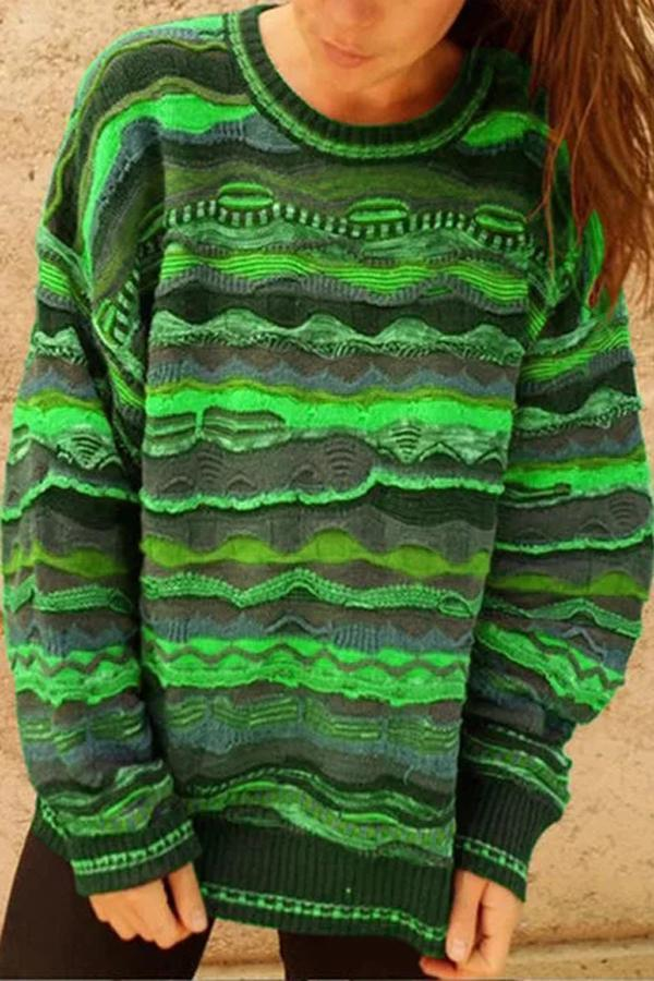 vintage Print Knitted Sweater