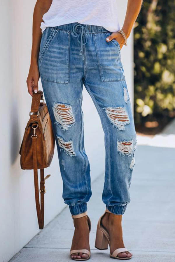 Fashion Solid Self-tie Cutout Paneled Pockets Foot-binding Jeans