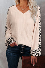Sweety Trendy Leopard Print Color-block Plaid Embossed V-neck Knitted Top