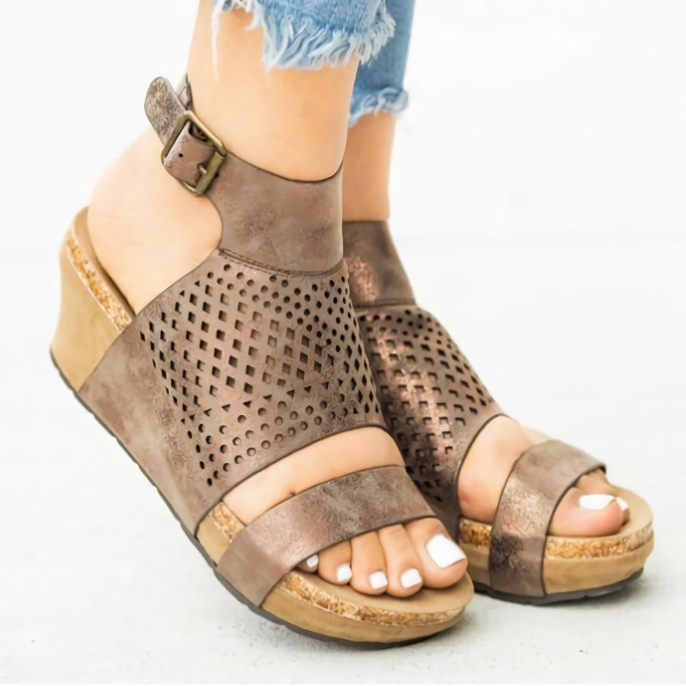 Ankle Strap Hollow Wedge Sandals