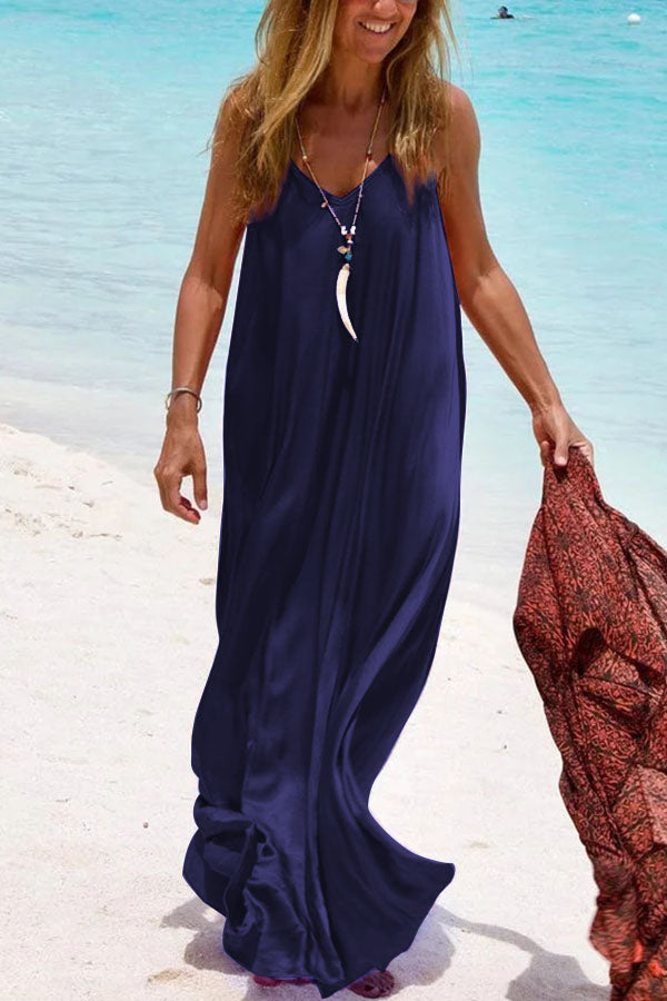 Solid V-neck Sleeveless Casual Sling Maxi Dress