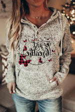 Letter Butterfly Dandelion Print Paneled Pocket Casual Hoodie