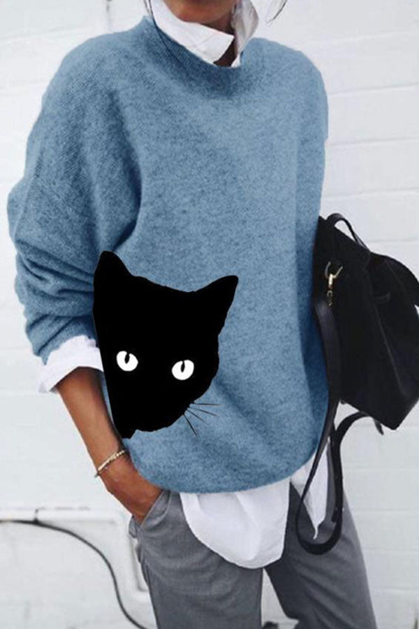 Cartoon Black Cat Print Knitted Casual Loose Sweater