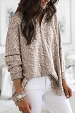 Women Gradient Jacquard Buttoned V-neck Long Sleeves Casual Blouse