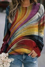 Abstract Gradient Striped Jacquard Rainbow Colors Street Sweatshirt