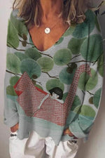Cartoon Character Girl On A Swan Float On River Leaf Print Landscape Blouse