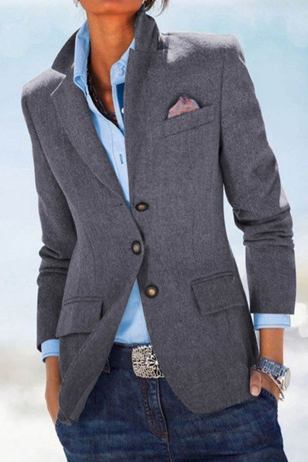 Temperament Striped Jacquard Buttoned Lapel Collar Business Suit Coat
