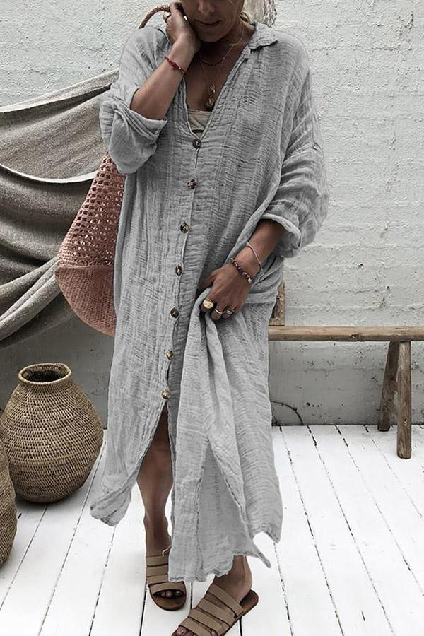 Casual Button Down Irregular Maxi Dress