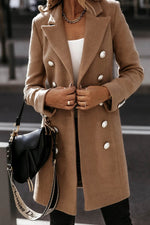 Temperament Solid Buttons Down Lapel Collar Coat