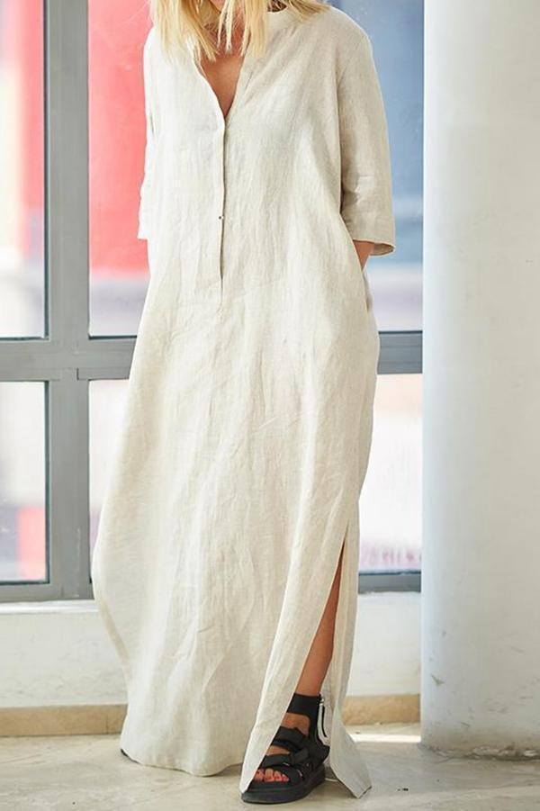 3/4 Length Sleeves Slit Hem Maxi Dress