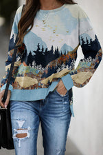 Mountain With Mixed Color Treetop Surrounding Birds In Sky Jacquard Vintage Slit T-shirt