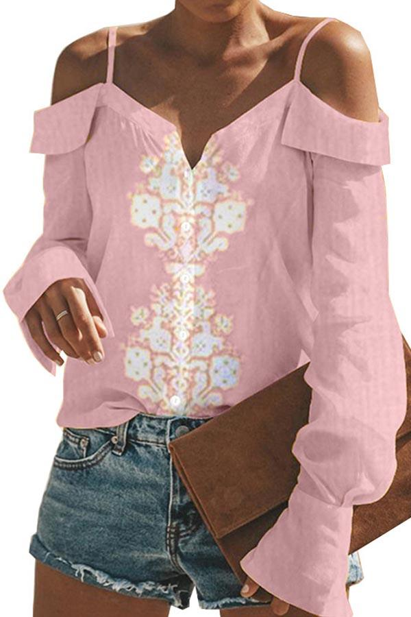 Floral Print Cold Shoulder Elegant T-shirts