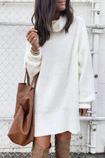 Sweety Solid Knitted Ribbed Pile Neck Sweater Dress
