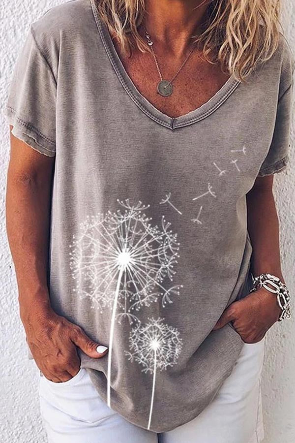 Casual Print V Neck Short Sleeves T Shirt