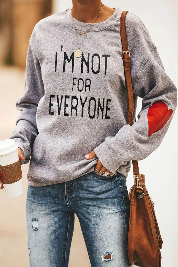 Im Not For Everyone Statement Letter Heart Print Casual T-shirt