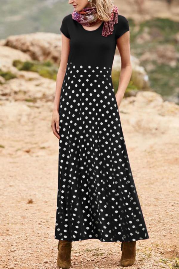 Casual  Wave Point Short Sleeves Round Maxi Dress