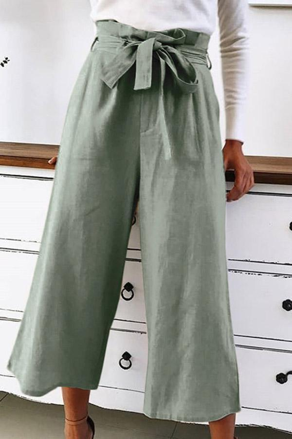 High Waist Self-tie Casual  Pants