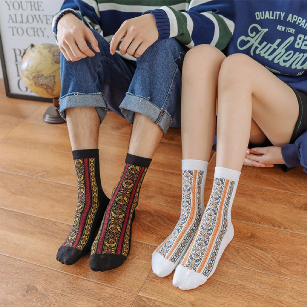 Ethnic Retro Striped Floral Jacquard Middle Socks