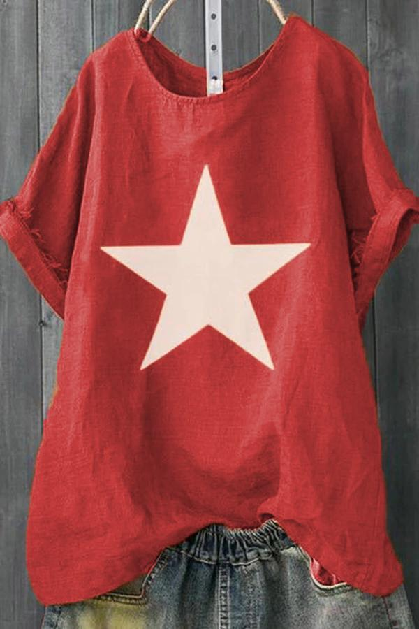Star Print Casual Loose T-shirts