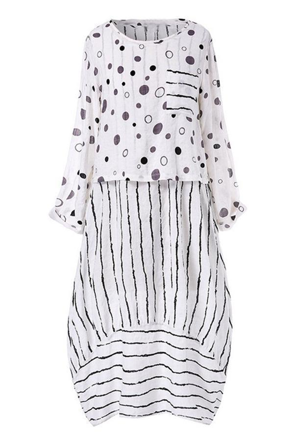 Polka Dot & Stripe Long Sleeves Dress