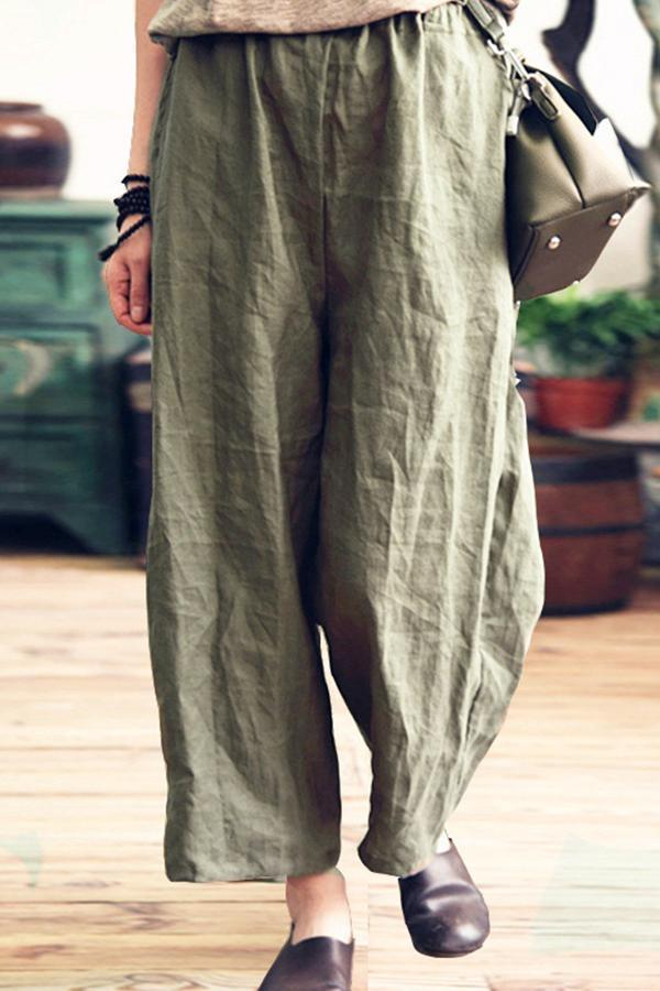 Casual Solid Side Pockets Folds Wide Leg Pants