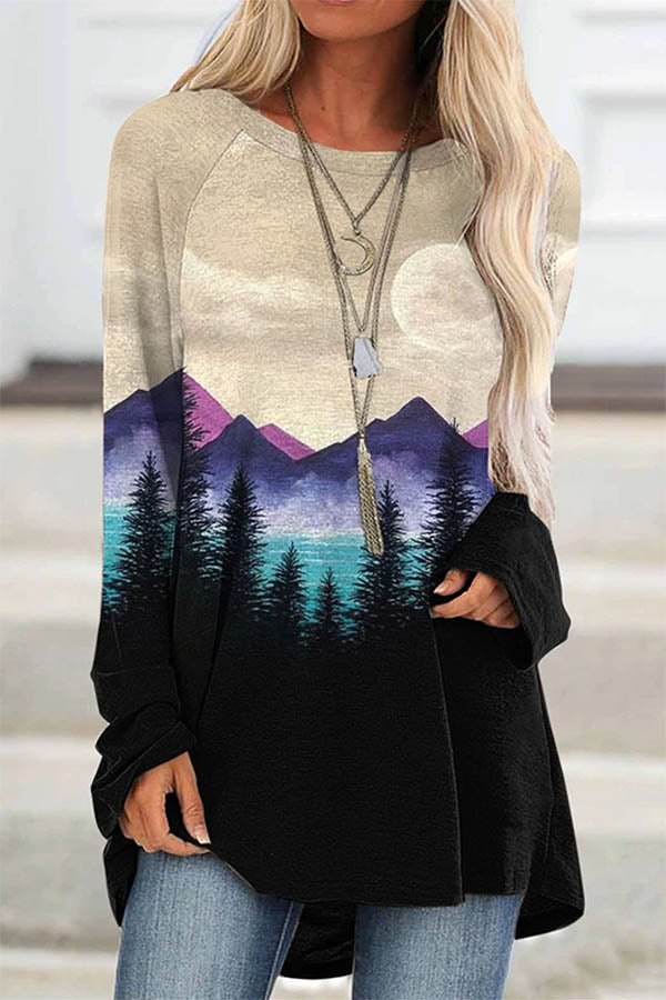 Retro Nature Landscape Gradient Mountain Forest Treetop Print T-shirt