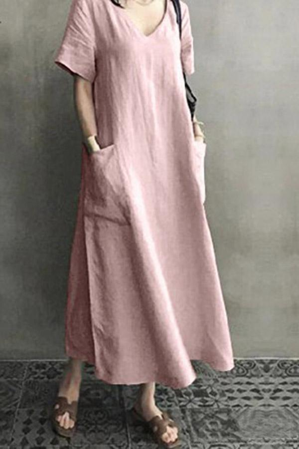 Solid V Neck Short Sleeve Maxi Dress