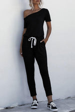Solid One Shoulder Self-tie Pocket Casual Jumpsuit