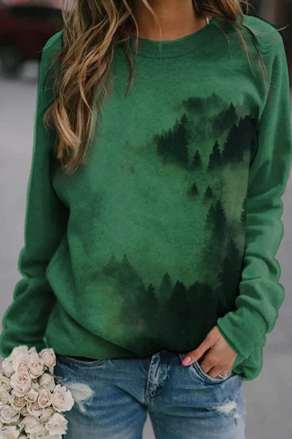 Nature Landscape Vivid Misty Mountain Gradient Print Casual Sweatshirt