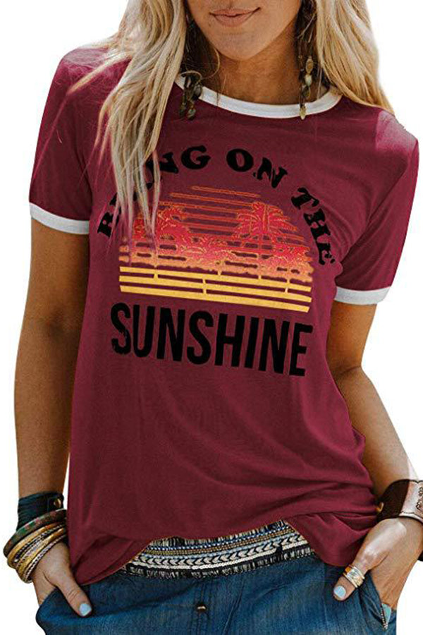 Casual Print Round Neck T Shirt