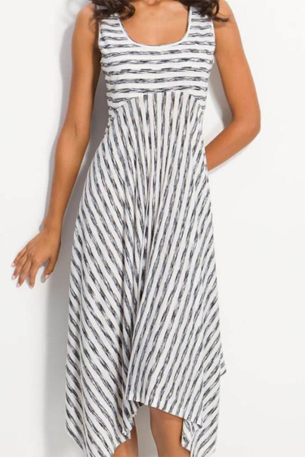 Stripe Print Sleeveless U Neck Midi Dress