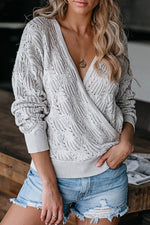 Sweety Tweed Knitted Ribbed Cross Front V-neck Hollow Out Sweater