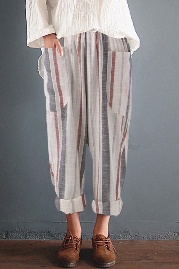 High Waist Striped Cotton Pockets Pants