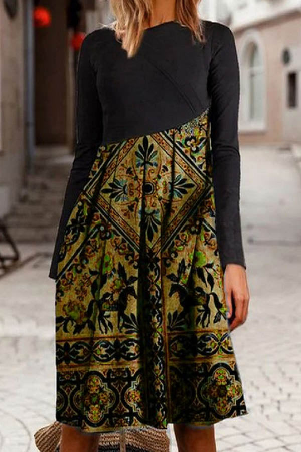 Retro Ethnic Floral Jacquard Diagonal Color-block Pleated Midi Dress