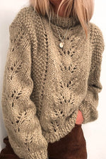 Daytime Solid Knitted Tweed Hollow Out Ribbed Sweater