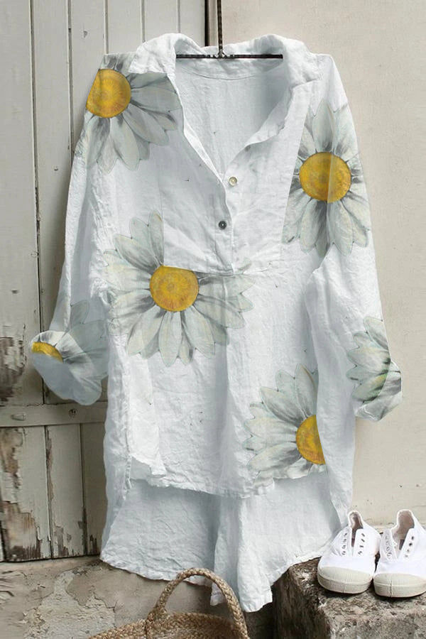 Sunflower Print Paneled Buttoned High Low Casual Blouse