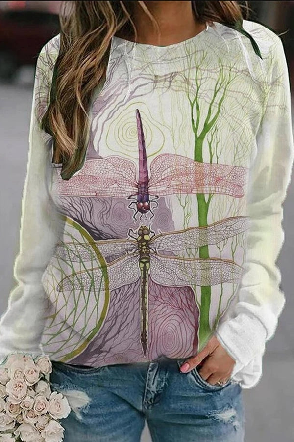 Trunk Lifelike Dragonfly Nature Landscape Print Vintage T-shirt
