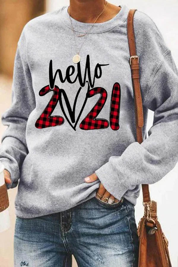 Hello 2021 Heart Plaid Letter Print Classic Woman T-shirt