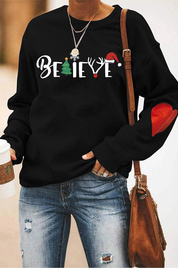 Believe Made By Christmas Tree Hat Elk Antlers Snowflake Heart Print Holiday T-shirt