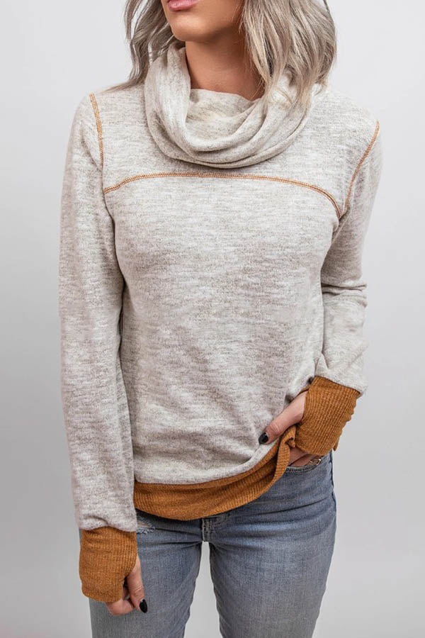 Women Casual Solid Color-block Pile Neck Pleated Sweatshirt