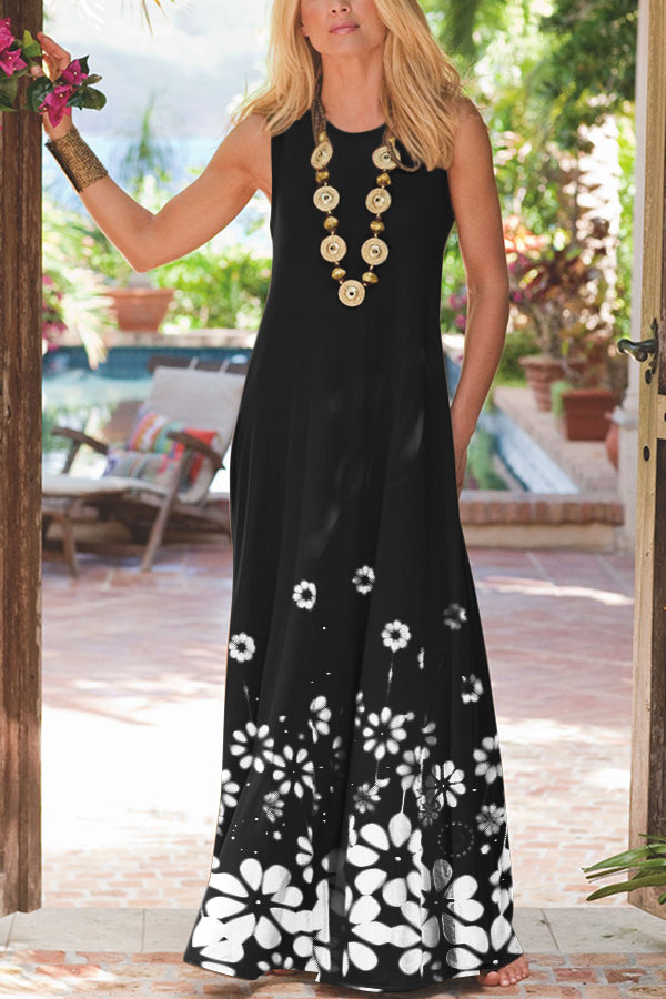 Casual Print Round Sleeveless Maxi Dress