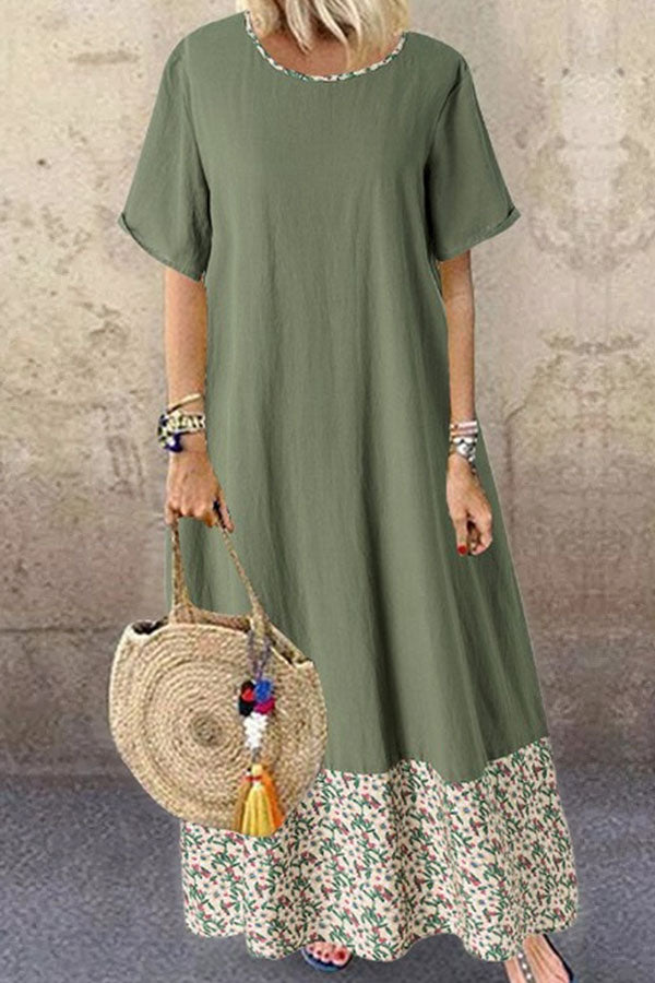 Paneled Floral Print Color-block Vintage Maxi Dress