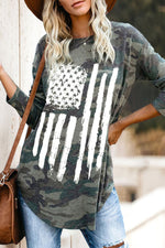 Street Camouflage America Flag Print Curved Hem T-shirt