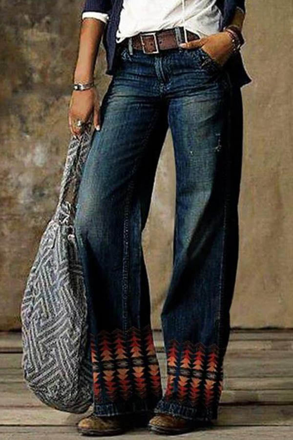 Gradient Triangle Jacquard Vintage Women Wide Leg Jeans