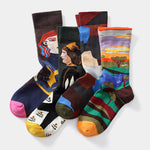 Artistic Abstract Character Floral Painting Jacquard Middle Socks