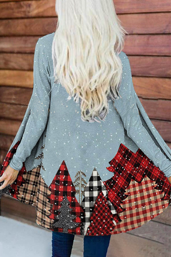 Christmas Tree With Plaid Pattern In Snowy Day Print Holiday Cardigan