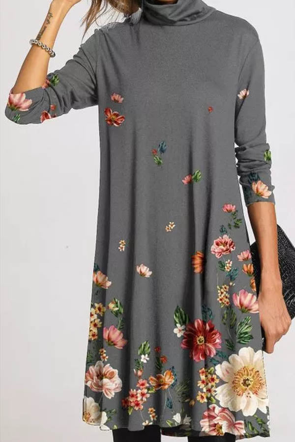 Literary Women Floral Print Turtleneck Midi Dress