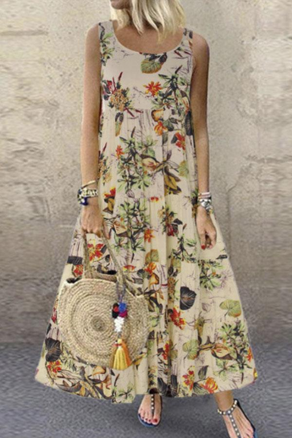 Boho Floral Print Sleeveless Holiday Maxi Dress