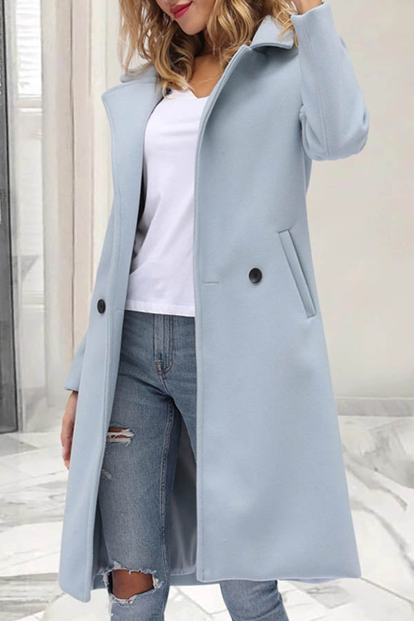Women Temperament Solid Paneled Buttoned Lapel Collar Long Coat