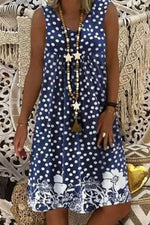 V-neck Polka Dots Floral Print Sleeveless Holiday Mini Dress